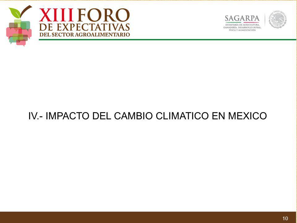 IV.- IMPACTO DEL CAMBIO CLIMATICO EN MEXICO