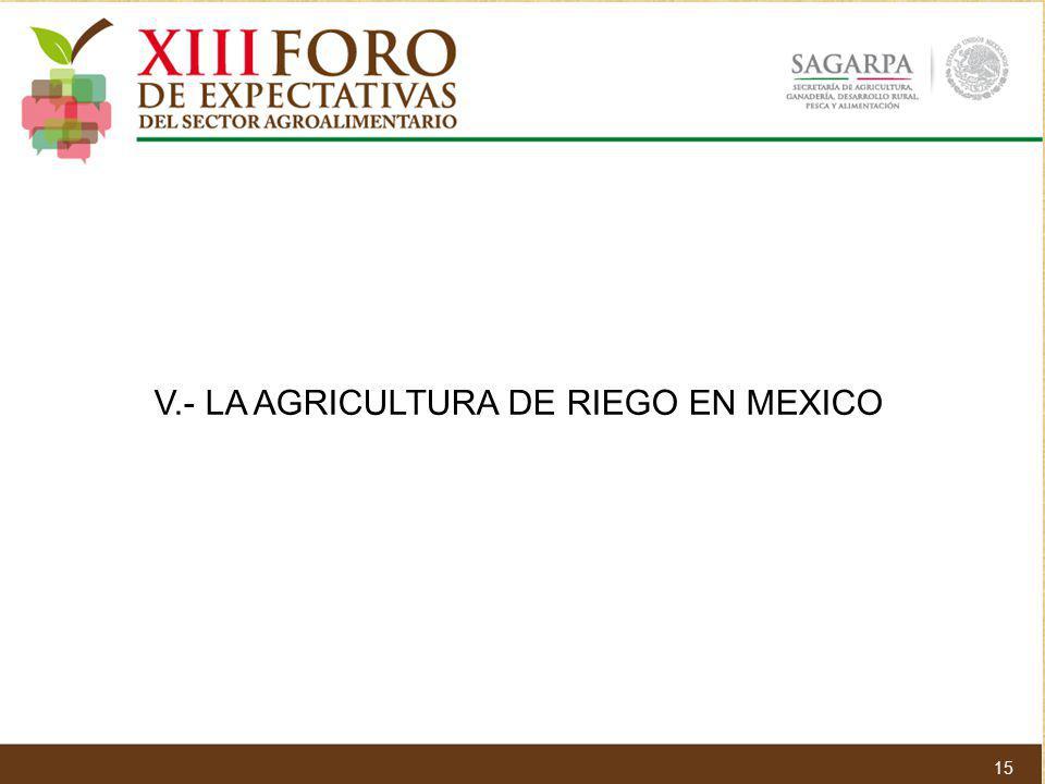 V.- LA AGRICULTURA DE RIEGO EN MEXICO