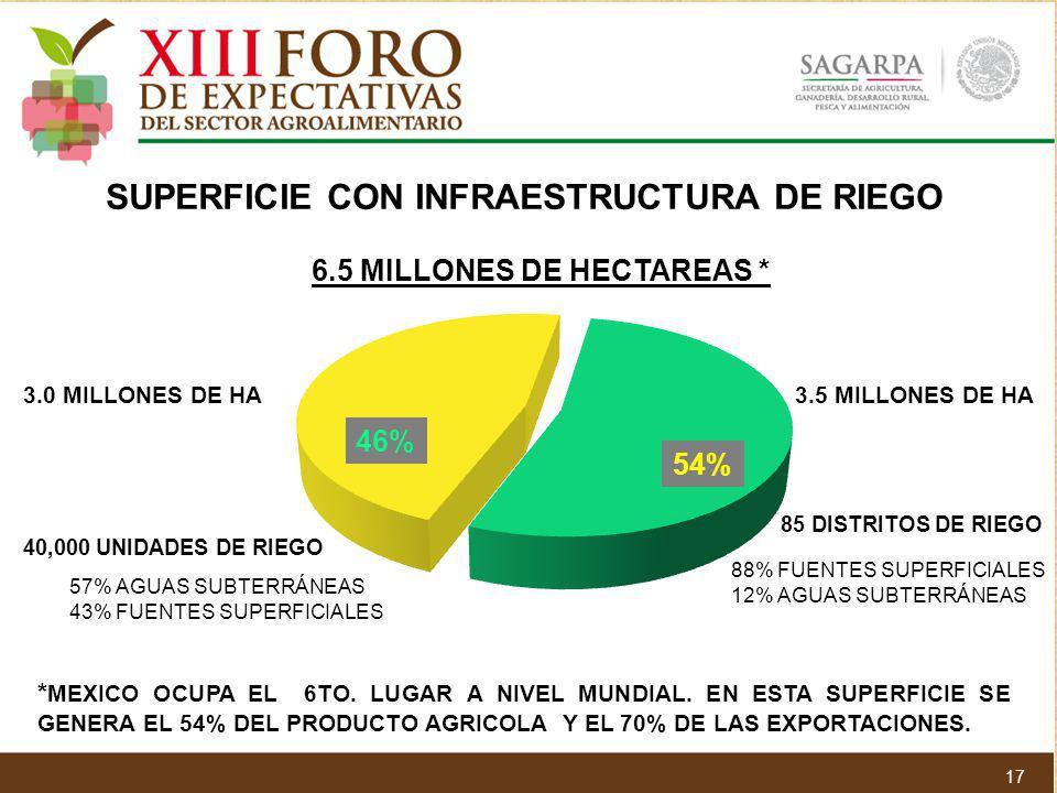SUPERFICIE CON INFRAESTRUCTURA DE RIEGO 6.5 MILLONES DE HECTAREAS *