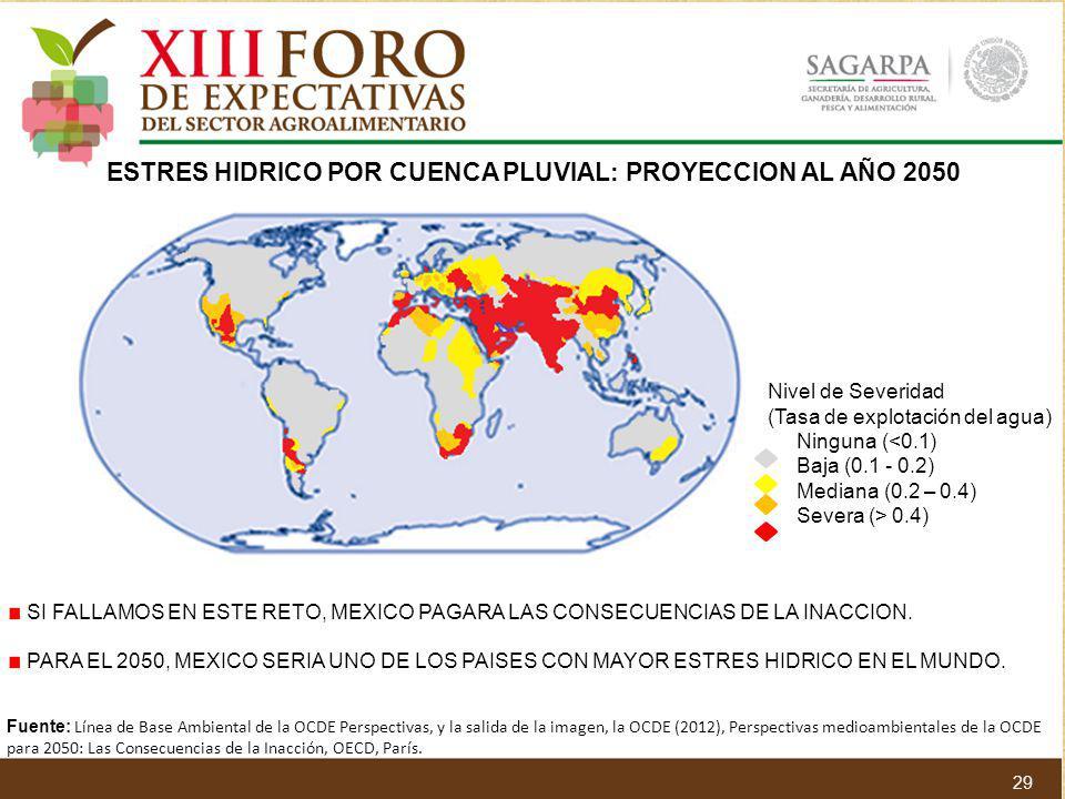 ESTRES HIDRICO POR CUENCA PLUVIAL: PROYECCION AL AÑO 2050