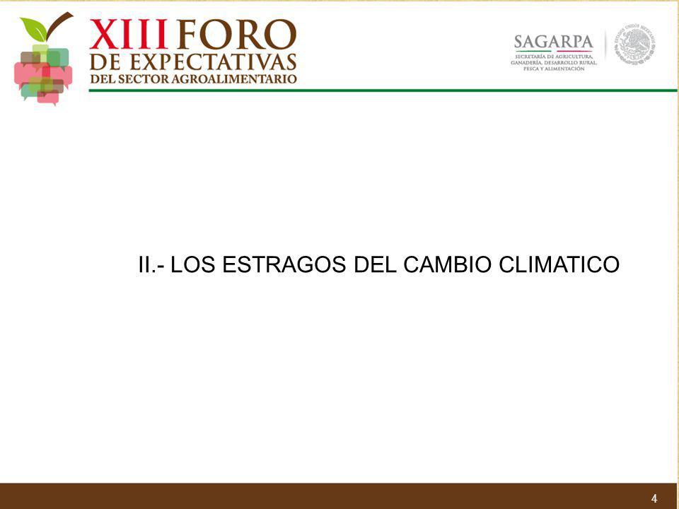 II.- LOS ESTRAGOS DEL CAMBIO CLIMATICO