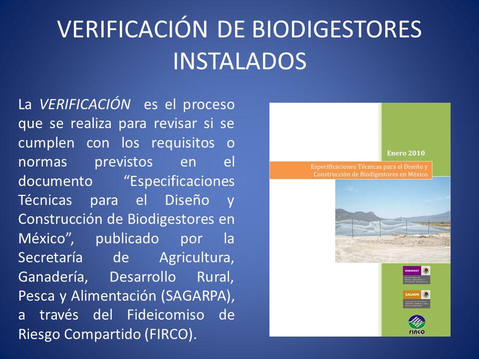 VERIFICACIÓN DE BIODIGESTORES INSTALADOS