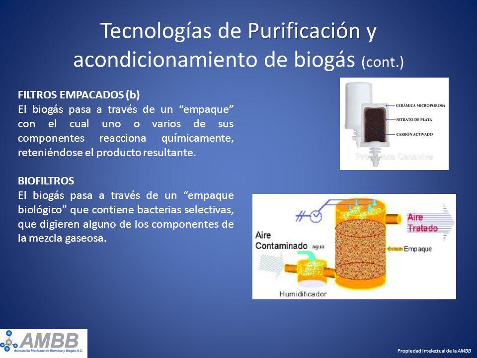 Tecnologías de Purificación y acondicionamiento de biogás (cont.)