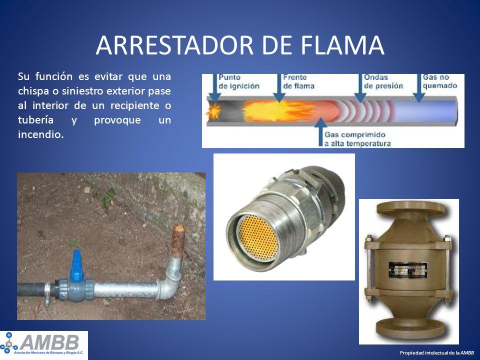 ARRESTADOR DE FLAMA Su función es evitar que una chispa o siniestro exterior pase al interior de un recipiente o tubería y provoque un incendio.