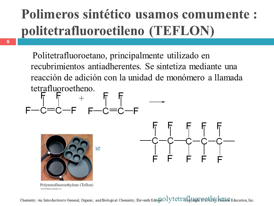 Polimeros sintético usamos comumente : politetrafluoroetileno (TEFLON)