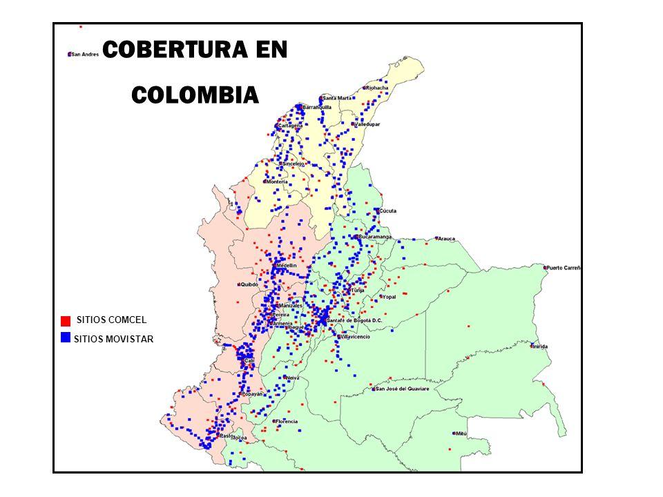 COBERTURA EN COLOMBIA SITIOS COMCEL SITIOS MOVISTAR