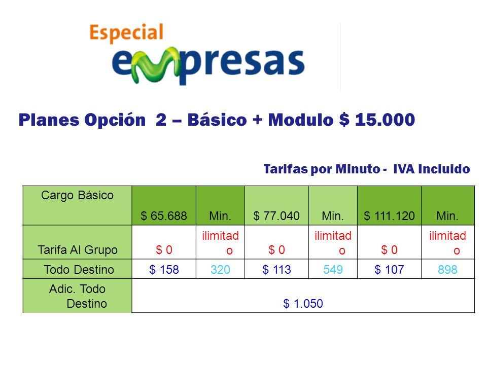 Planes Opción 2 – Básico + Modulo $ 15.000