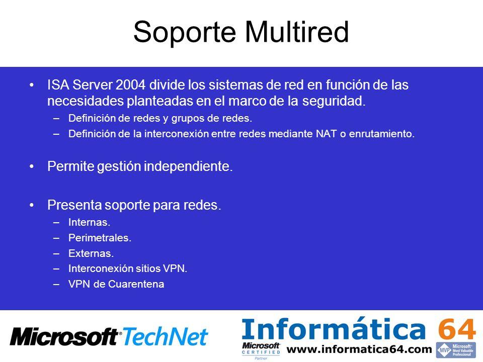 Soporte Multired ISA Server 2004 divide los sistemas de red en función de las necesidades planteadas en el marco de la seguridad.
