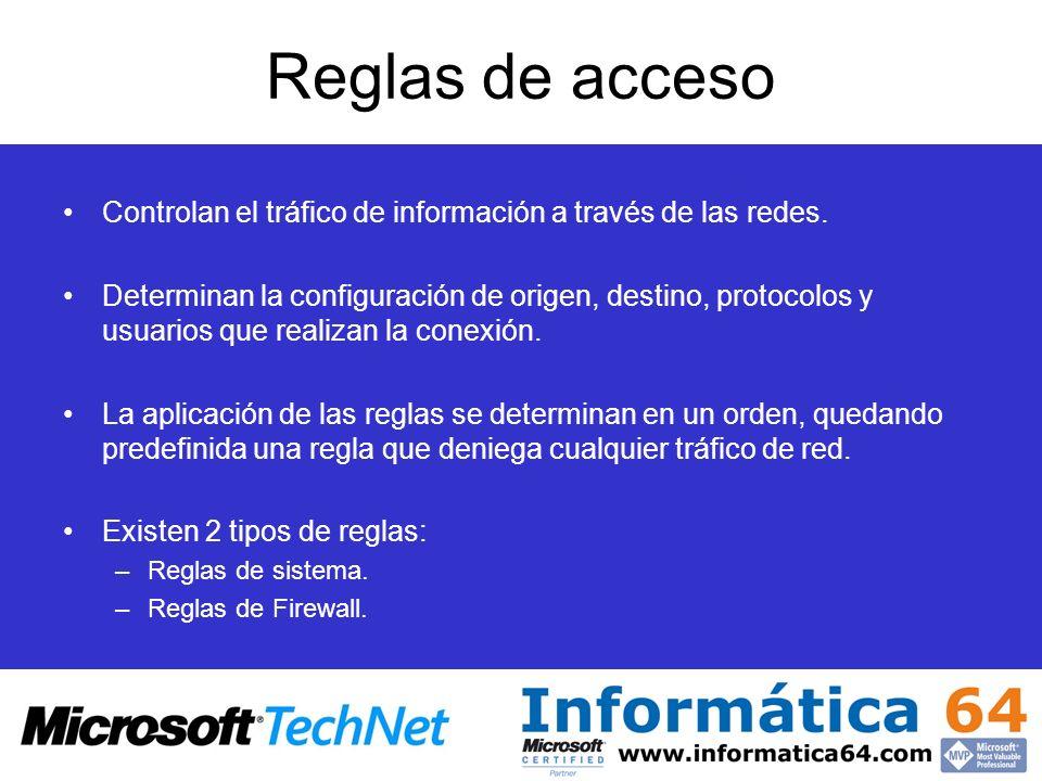 Reglas de acceso Controlan el tráfico de información a través de las redes.