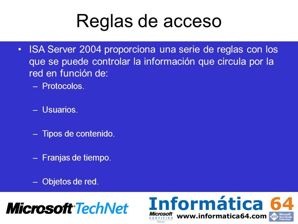 Reglas de acceso ISA Server 2004 proporciona una serie de reglas con los que se puede controlar la información que circula por la red en función de: