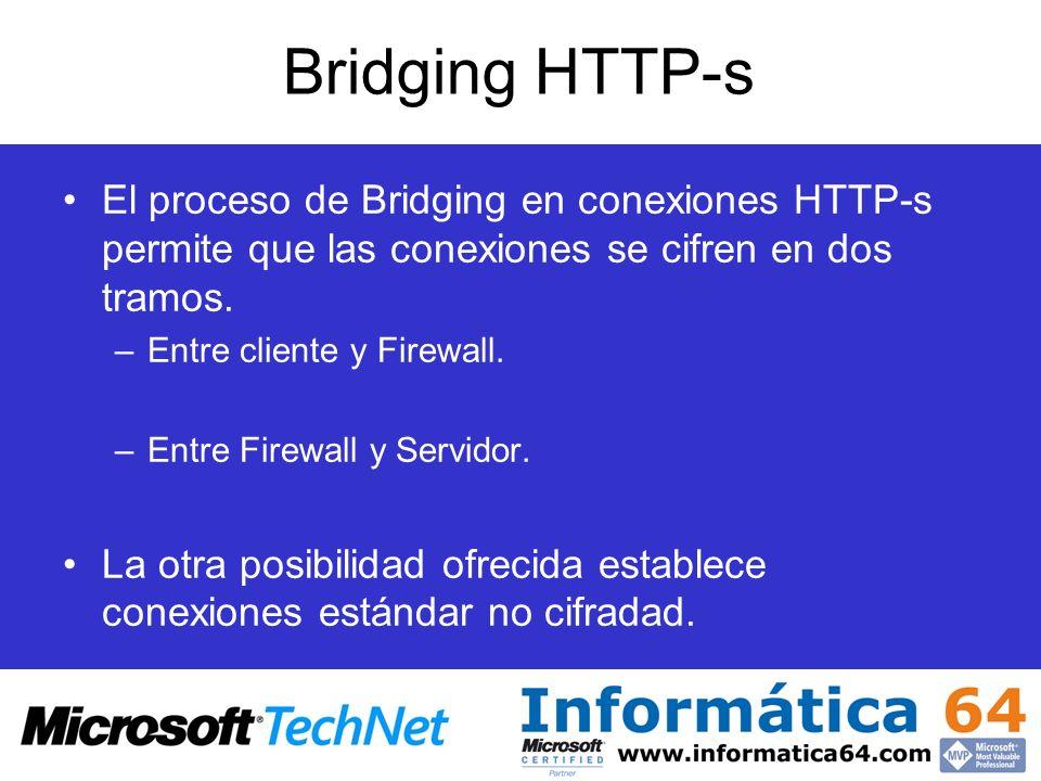 Bridging HTTP-s El proceso de Bridging en conexiones HTTP-s permite que las conexiones se cifren en dos tramos.