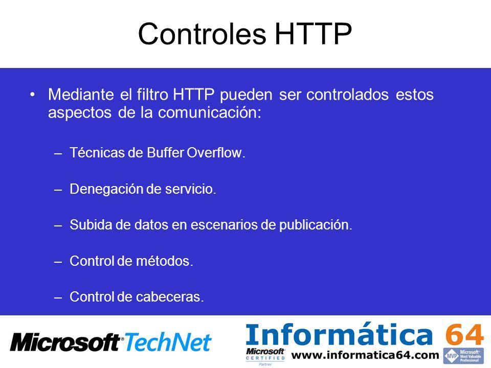 Controles HTTPMediante el filtro HTTP pueden ser controlados estos aspectos de la comunicación: Técnicas de Buffer Overflow.