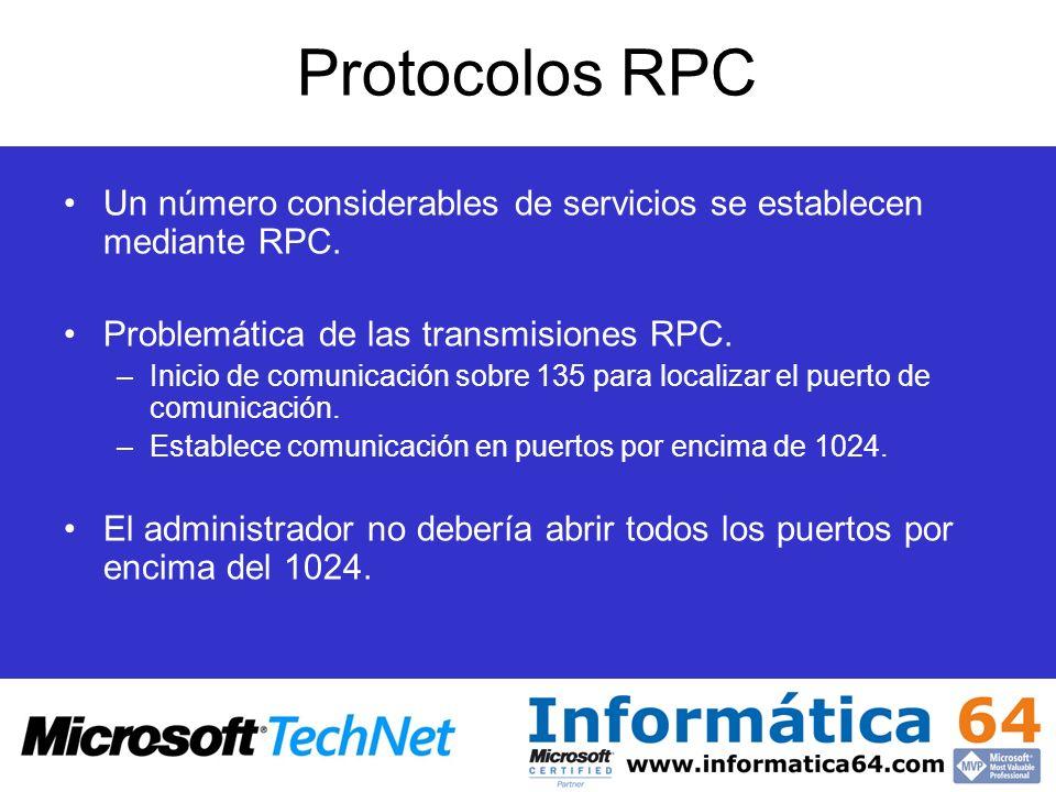 Protocolos RPCUn número considerables de servicios se establecen mediante RPC. Problemática de las transmisiones RPC.