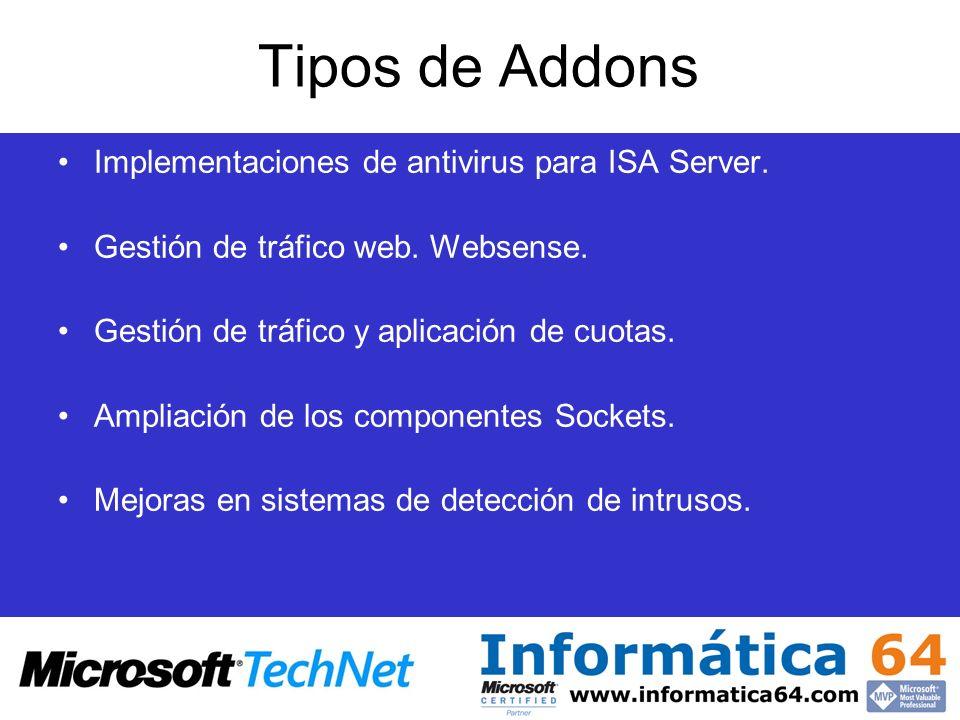 Tipos de Addons Implementaciones de antivirus para ISA Server.