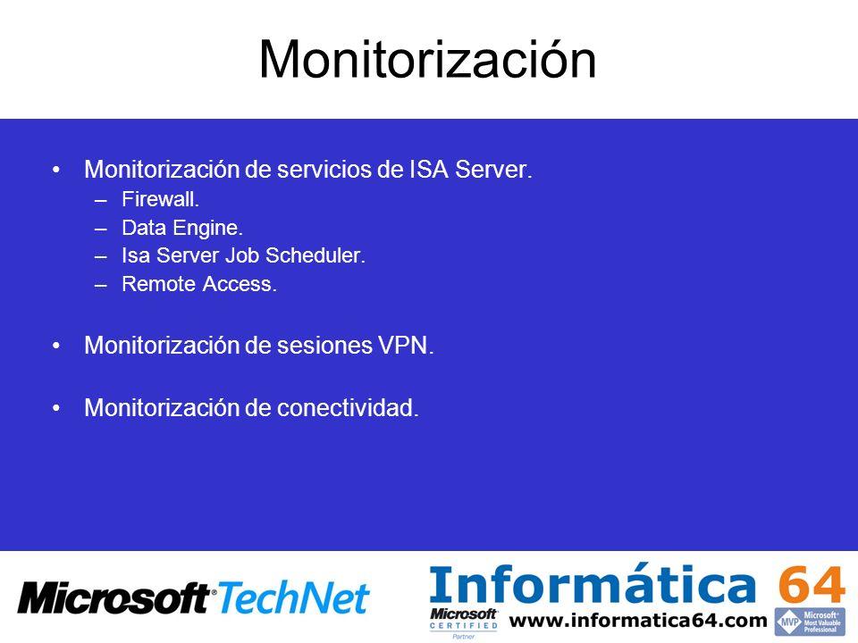 Monitorización Monitorización de servicios de ISA Server.