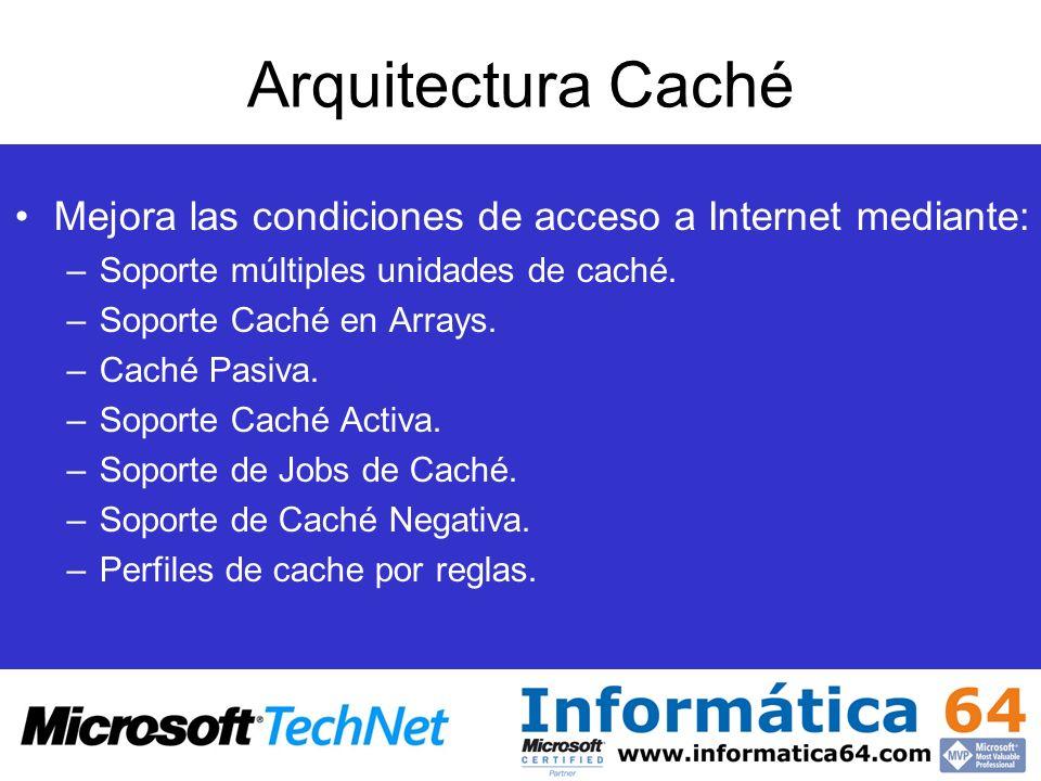 Arquitectura Caché Mejora las condiciones de acceso a Internet mediante: Soporte múltiples unidades de caché.
