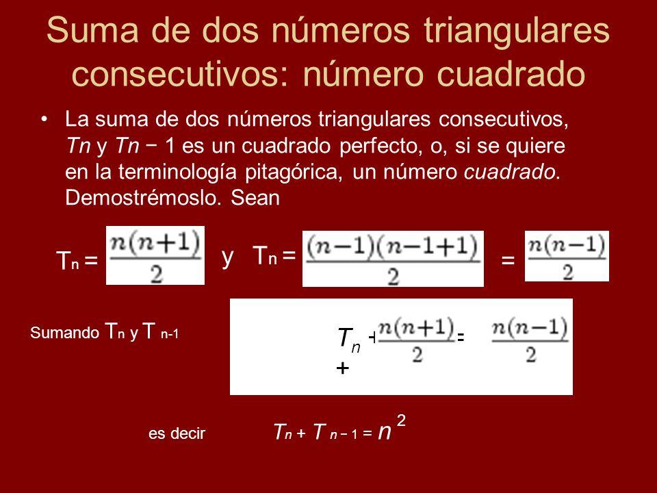 Suma de dos números triangulares consecutivos: número cuadrado