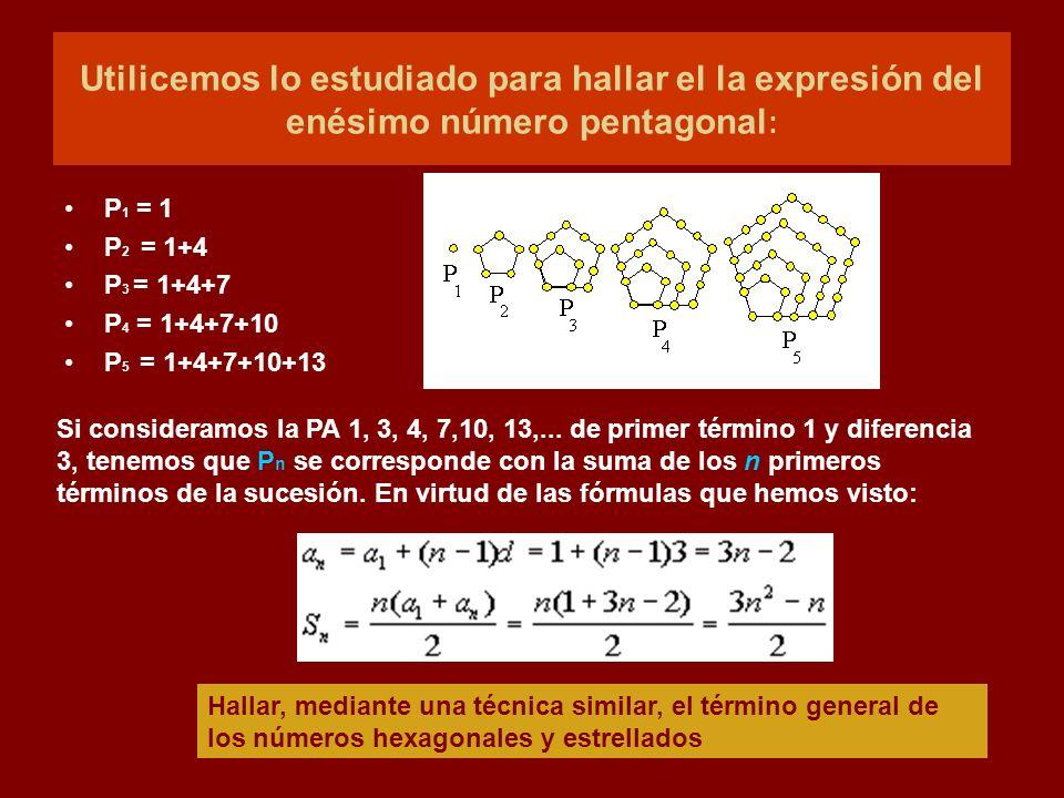 Utilicemos lo estudiado para hallar el la expresión del enésimo número pentagonal:
