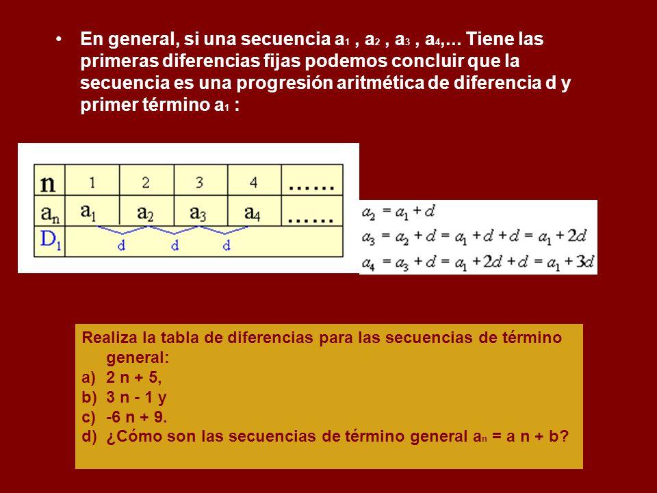 En general, si una secuencia a1 , a2 , a3 , a4,