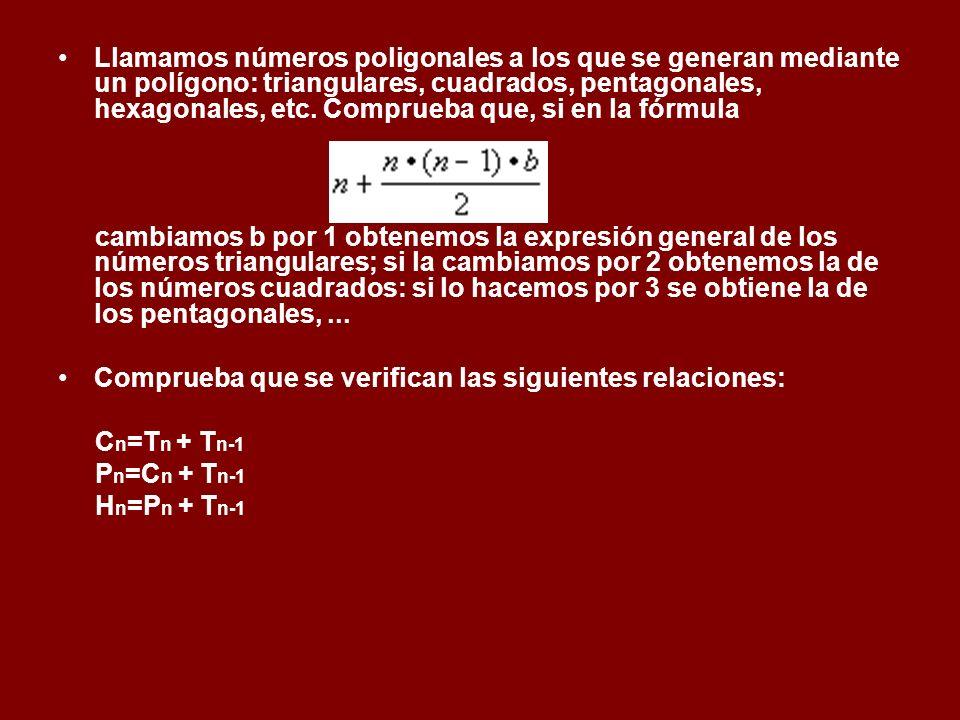Llamamos números poligonales a los que se generan mediante un polígono: triangulares, cuadrados, pentagonales, hexagonales, etc. Comprueba que, si en la fórmula