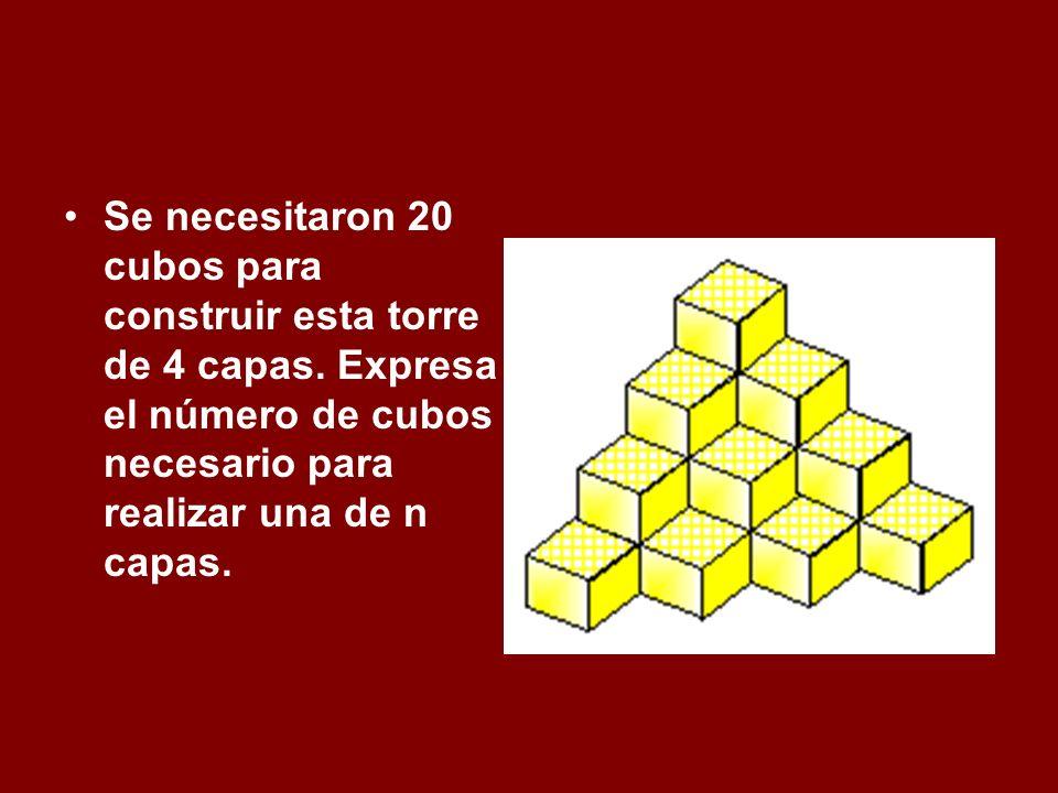 Se necesitaron 20 cubos para construir esta torre de 4 capas
