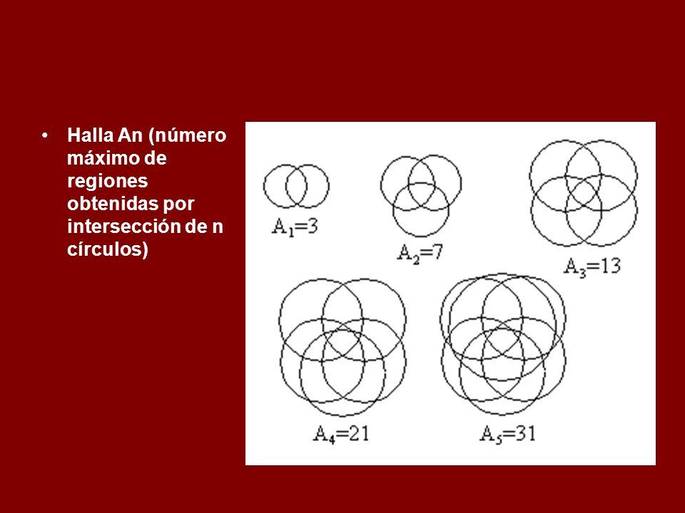 Halla An (número máximo de regiones obtenidas por intersección de n círculos)
