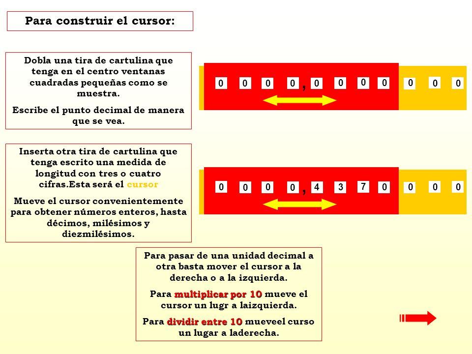 , , Para construir el cursor: