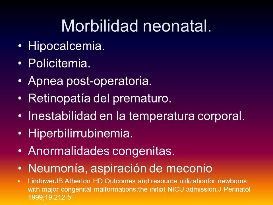 Morbilidad neonatal. Hipocalcemia. Policitemia. Apnea post-operatoria.