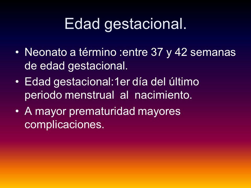 Edad gestacional. Neonato a término :entre 37 y 42 semanas de edad gestacional.