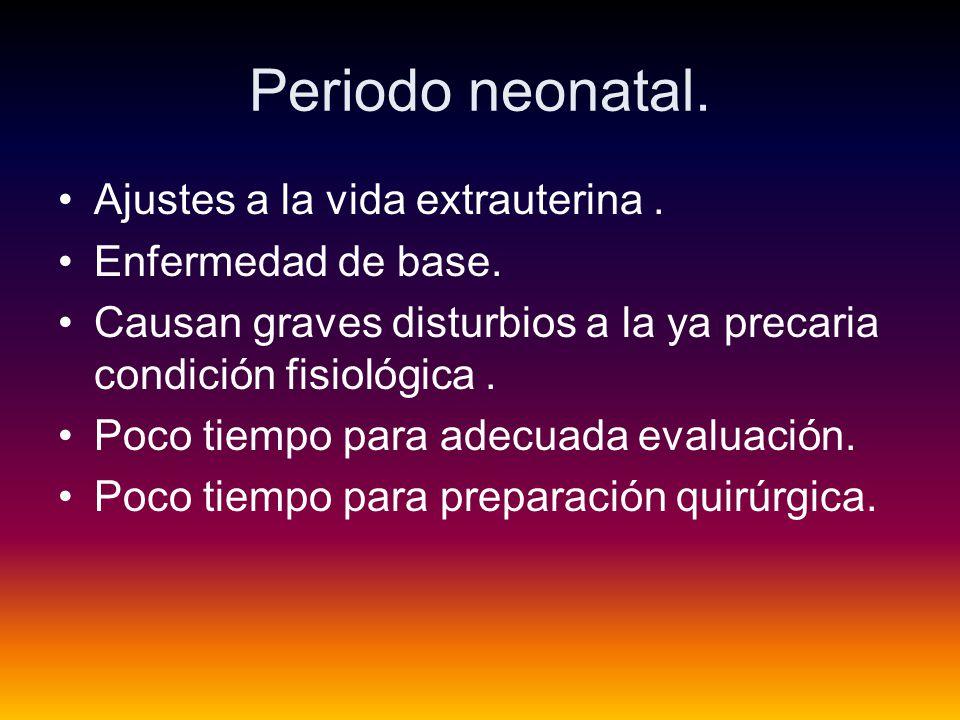 Periodo neonatal. Ajustes a la vida extrauterina . Enfermedad de base.