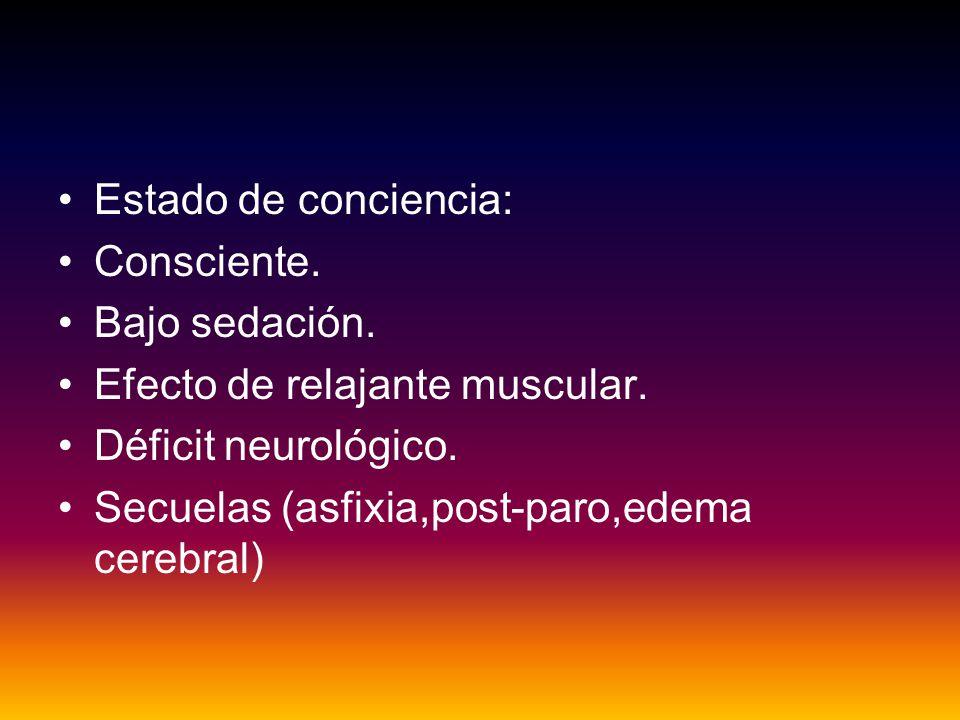 Estado de conciencia: Consciente. Bajo sedación. Efecto de relajante muscular. Déficit neurológico.
