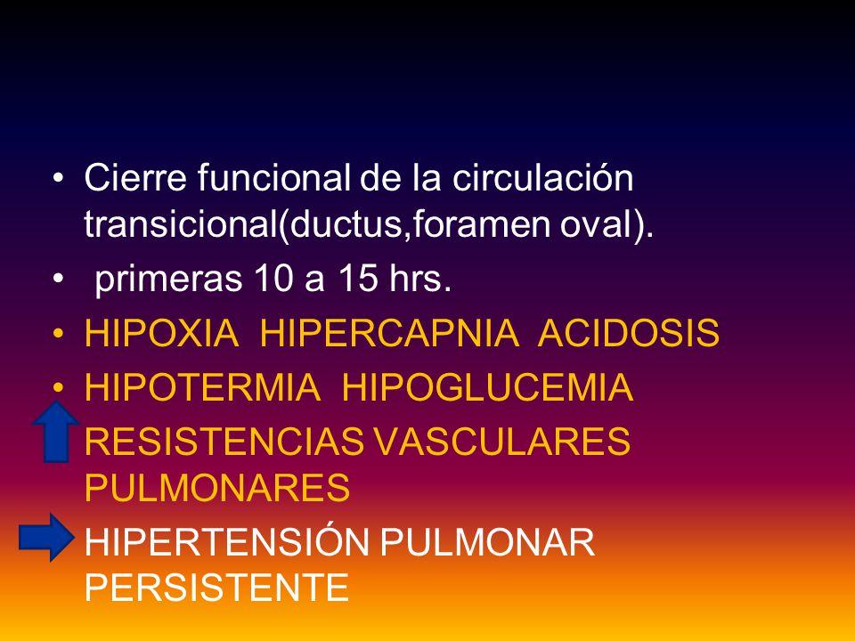 Cierre funcional de la circulación transicional(ductus,foramen oval).
