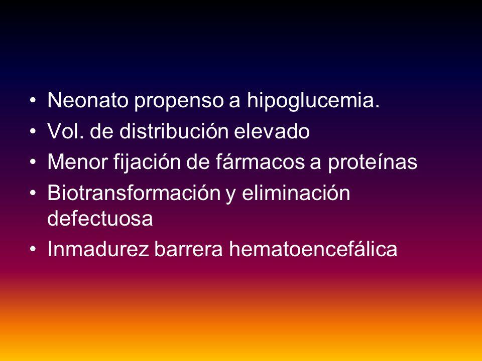 Neonato propenso a hipoglucemia.