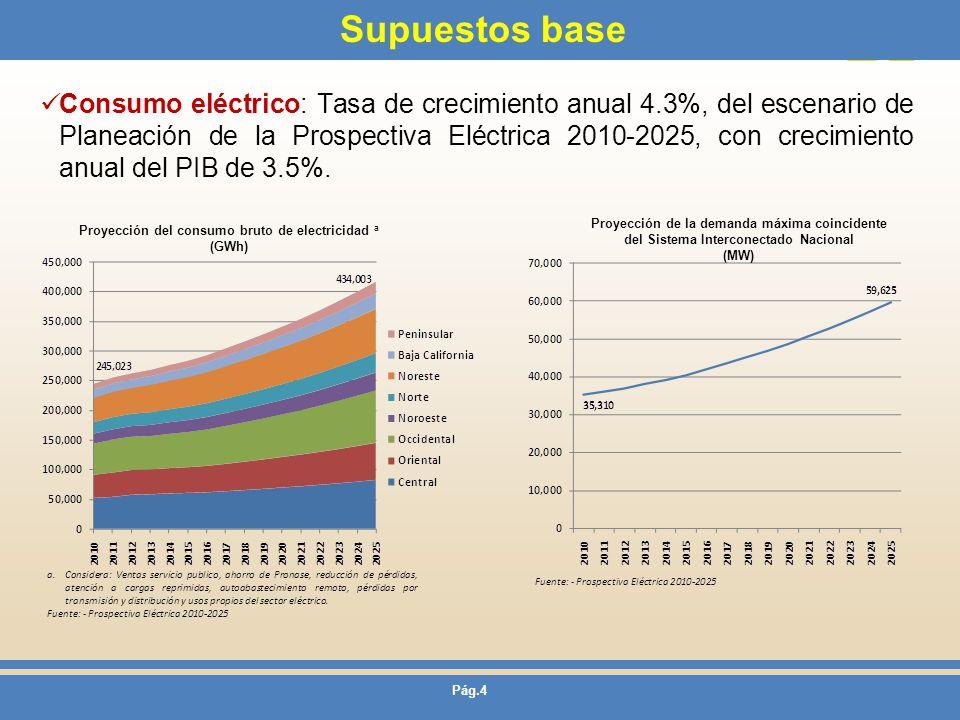 Proyección del consumo bruto de electricidad a