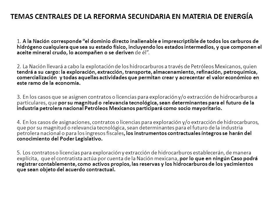 TEMAS CENTRALES DE LA REFORMA SECUNDARIA EN MATERIA DE ENERGÍA