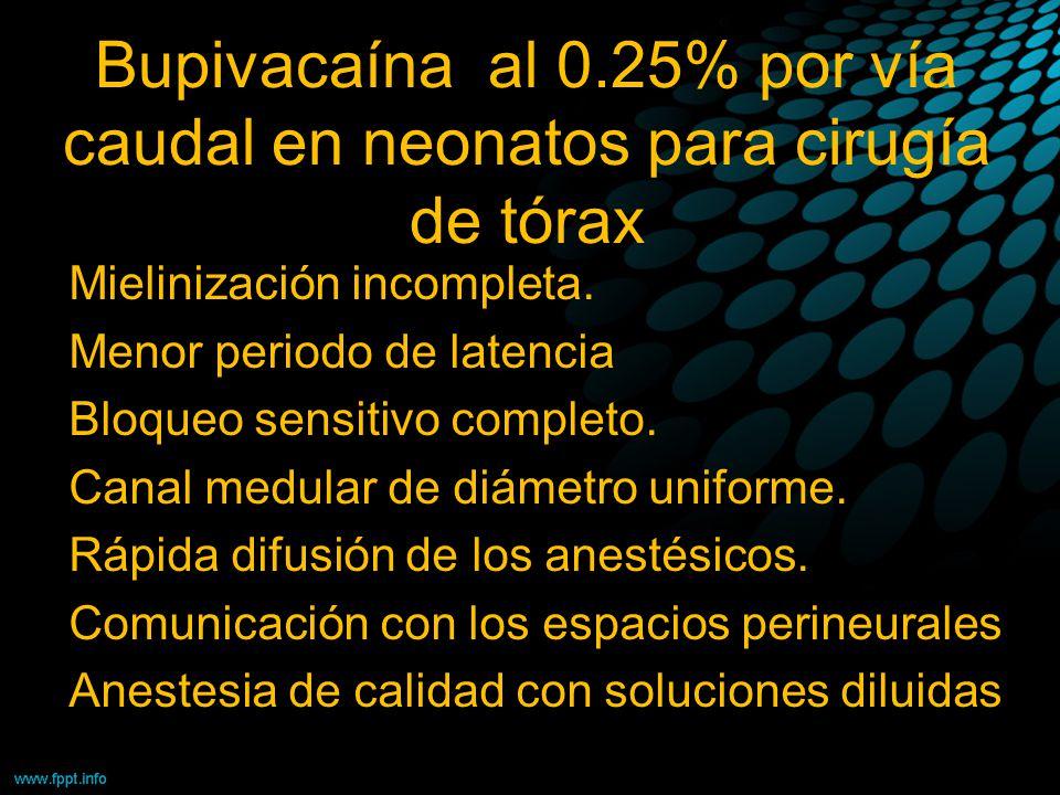 Bupivacaína al 0.25% por vía caudal en neonatos para cirugía de tórax