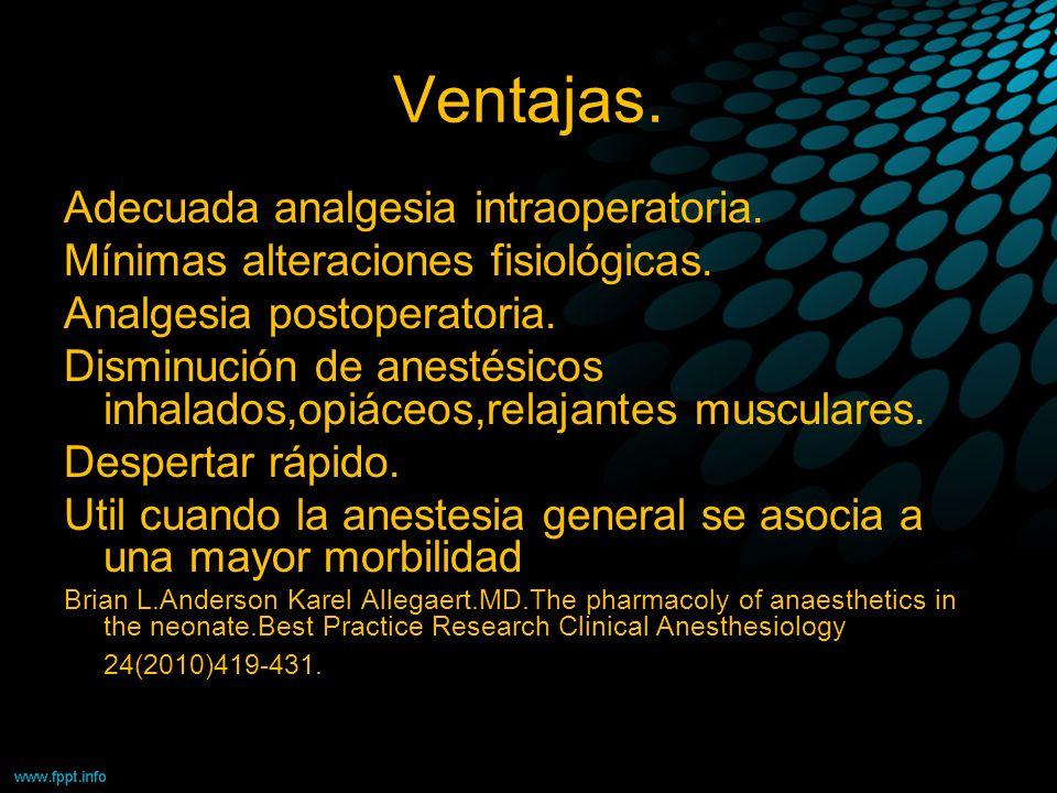 Ventajas. Adecuada analgesia intraoperatoria.
