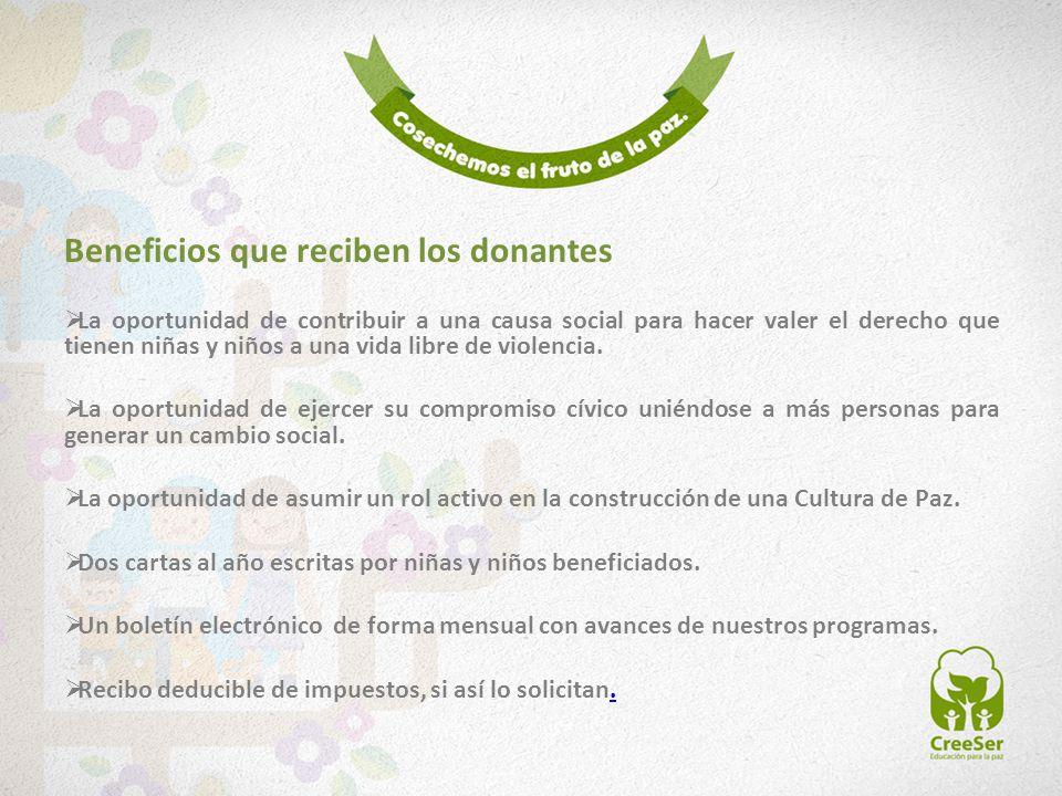 Beneficios que reciben los donantes