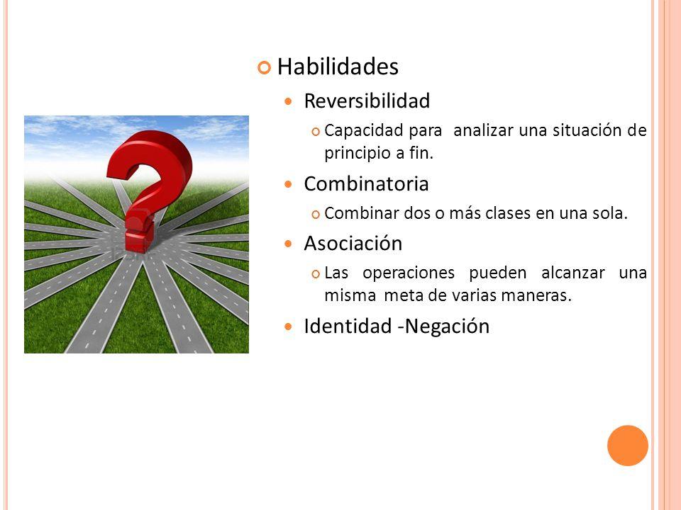Habilidades Reversibilidad Combinatoria Asociación Identidad -Negación
