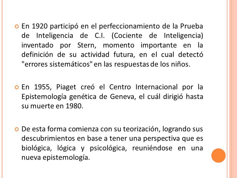 En 1920 participó en el perfeccionamiento de la Prueba de Inteligencia de C.I. (Cociente de Inteligencia) inventado por Stern, momento importante en la definición de su actividad futura, en el cual detectó errores sistemáticos en las respuestas de los niños.