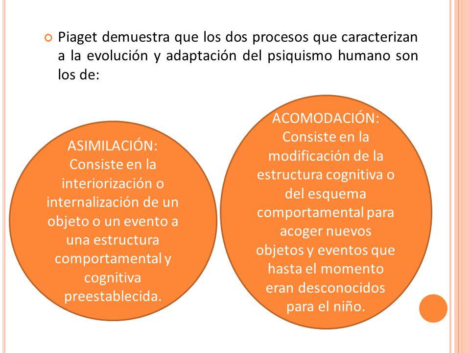 Piaget demuestra que los dos procesos que caracterizan a la evolución y adaptación del psiquismo humano son los de: