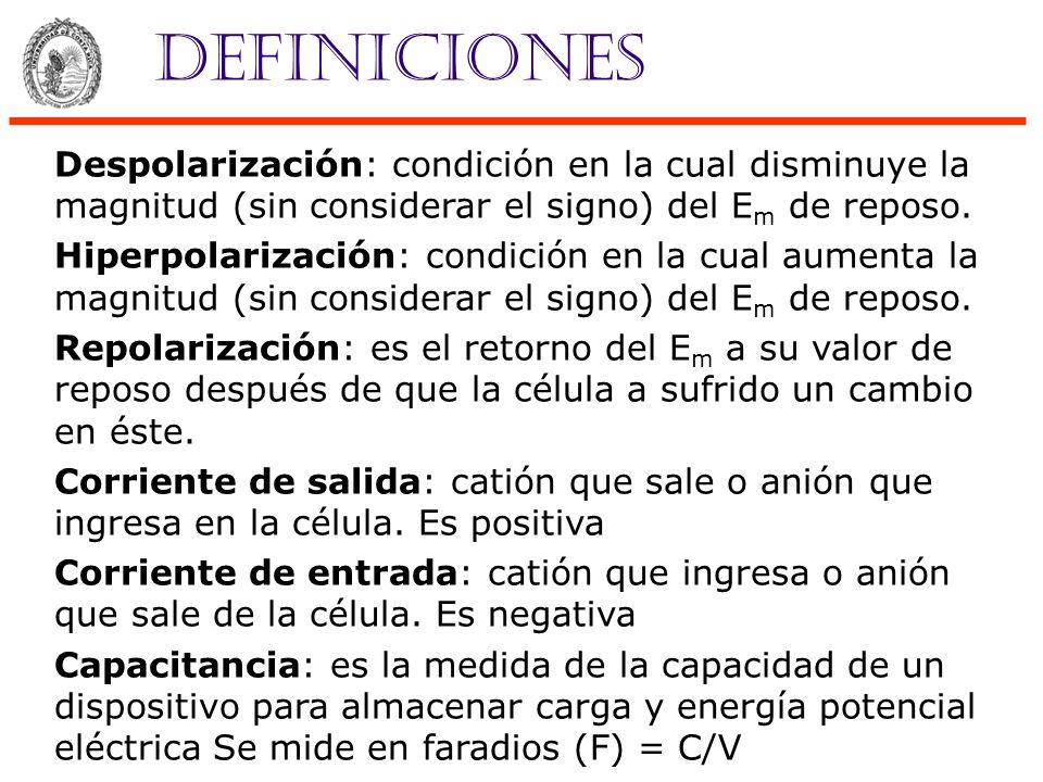 Definiciones Despolarización: condición en la cual disminuye la magnitud (sin considerar el signo) del Em de reposo.