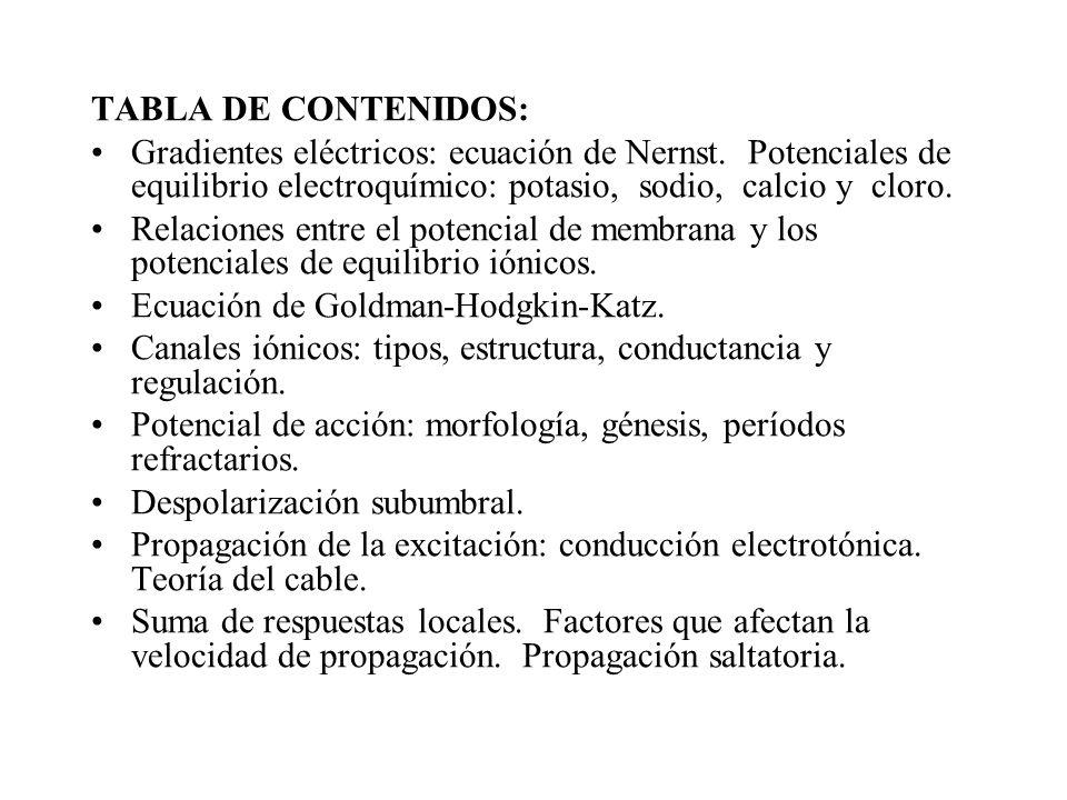 TABLA DE CONTENIDOS:Gradientes eléctricos: ecuación de Nernst. Potenciales de equilibrio electroquímico: potasio, sodio, calcio y cloro.
