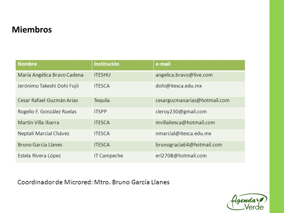 Miembros Responsable : Mtro. Bruno García Llanes