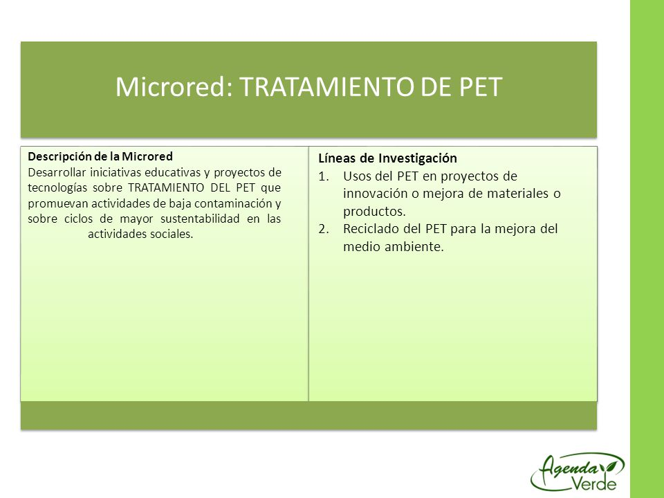 Microred: TRATAMIENTO DE PET