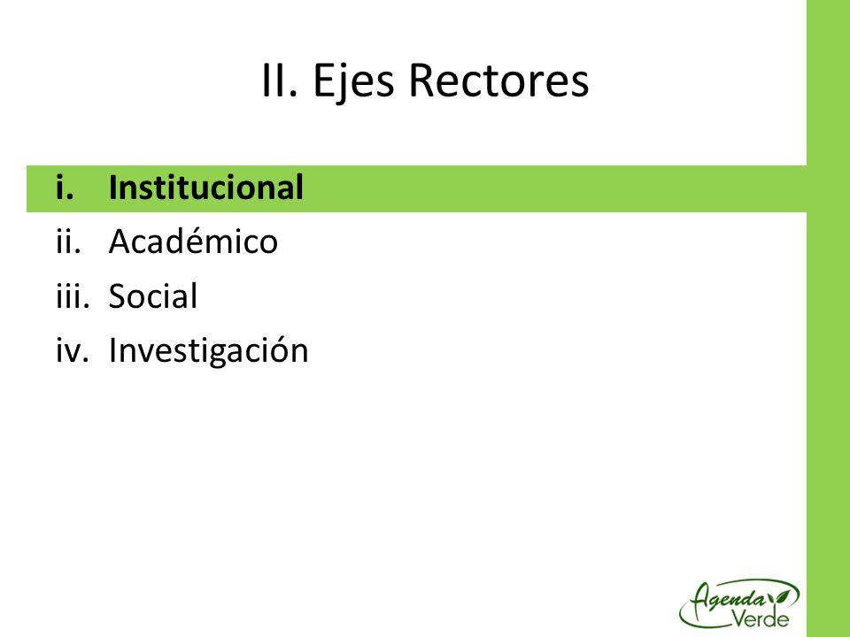 II. Ejes Rectores Institucional Académico Social Investigación