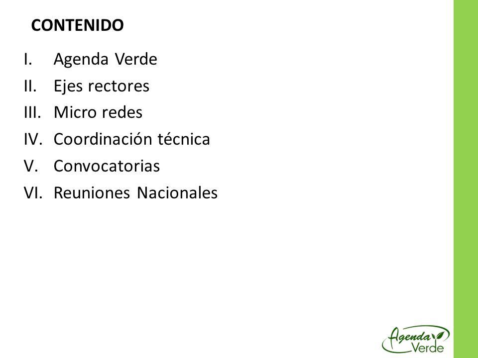CONTENIDO Agenda Verde. Ejes rectores. Micro redes.