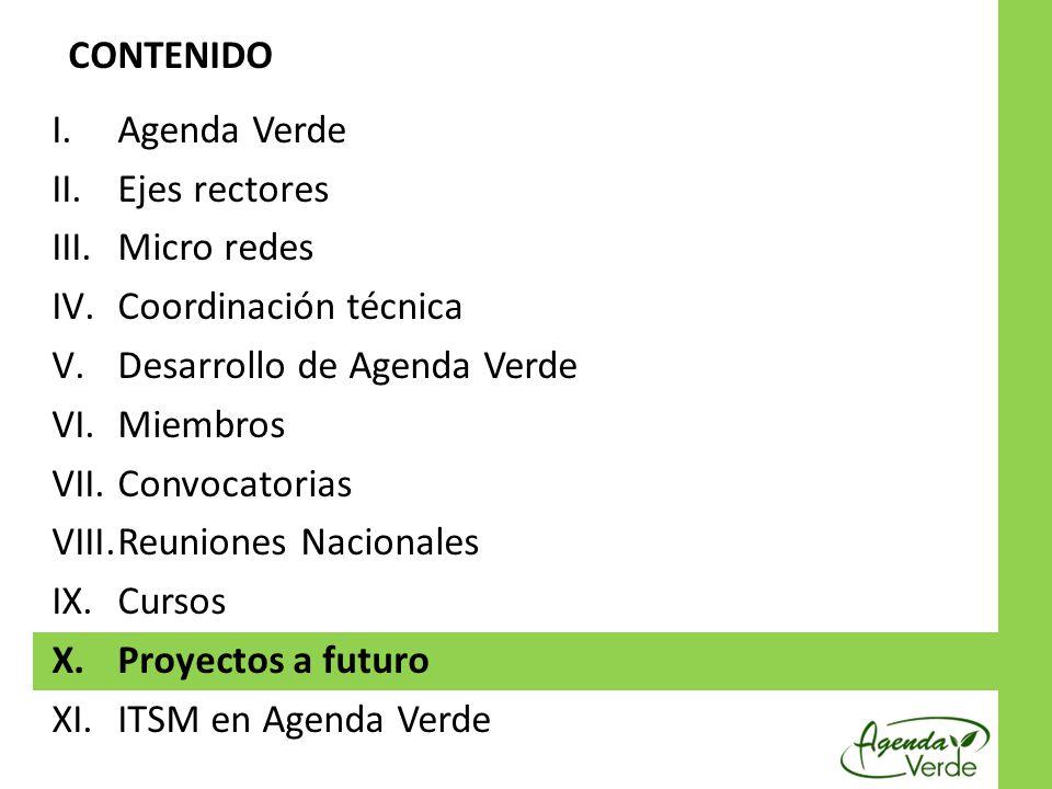CONTENIDO Agenda Verde. Ejes rectores. Micro redes. Coordinación técnica. Desarrollo de Agenda Verde.