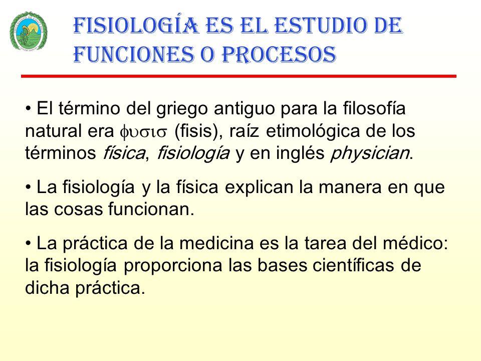 Fisiología es el estudio de funciones o procesos