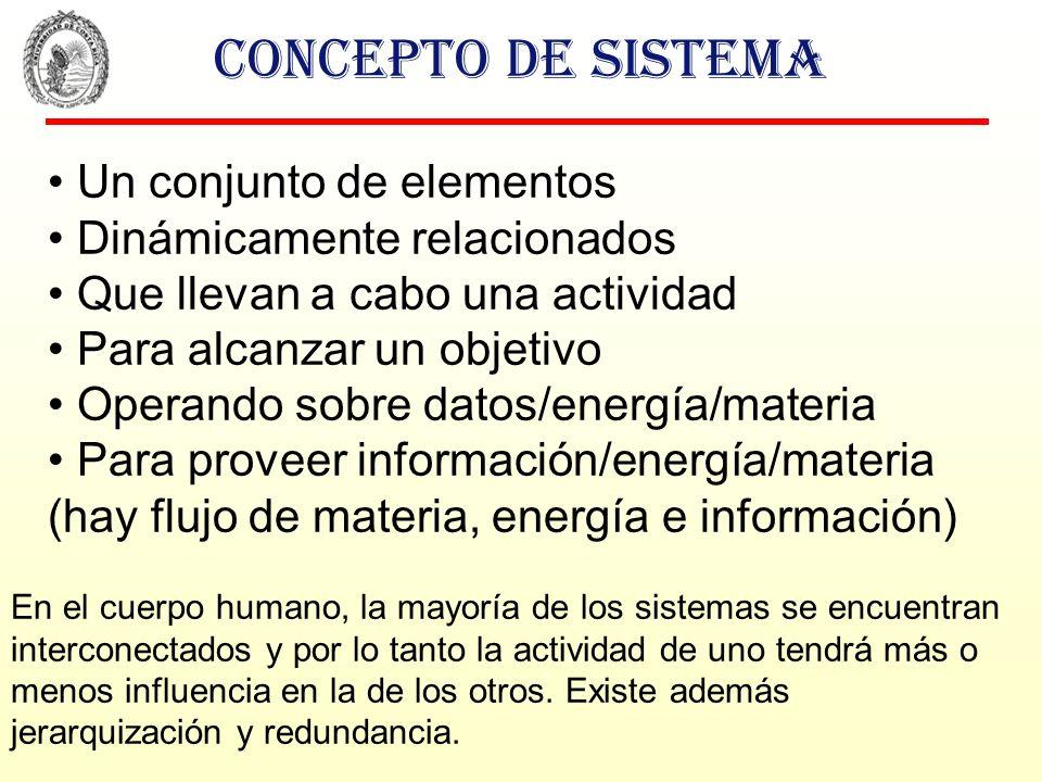 Concepto de sistema Un conjunto de elementos